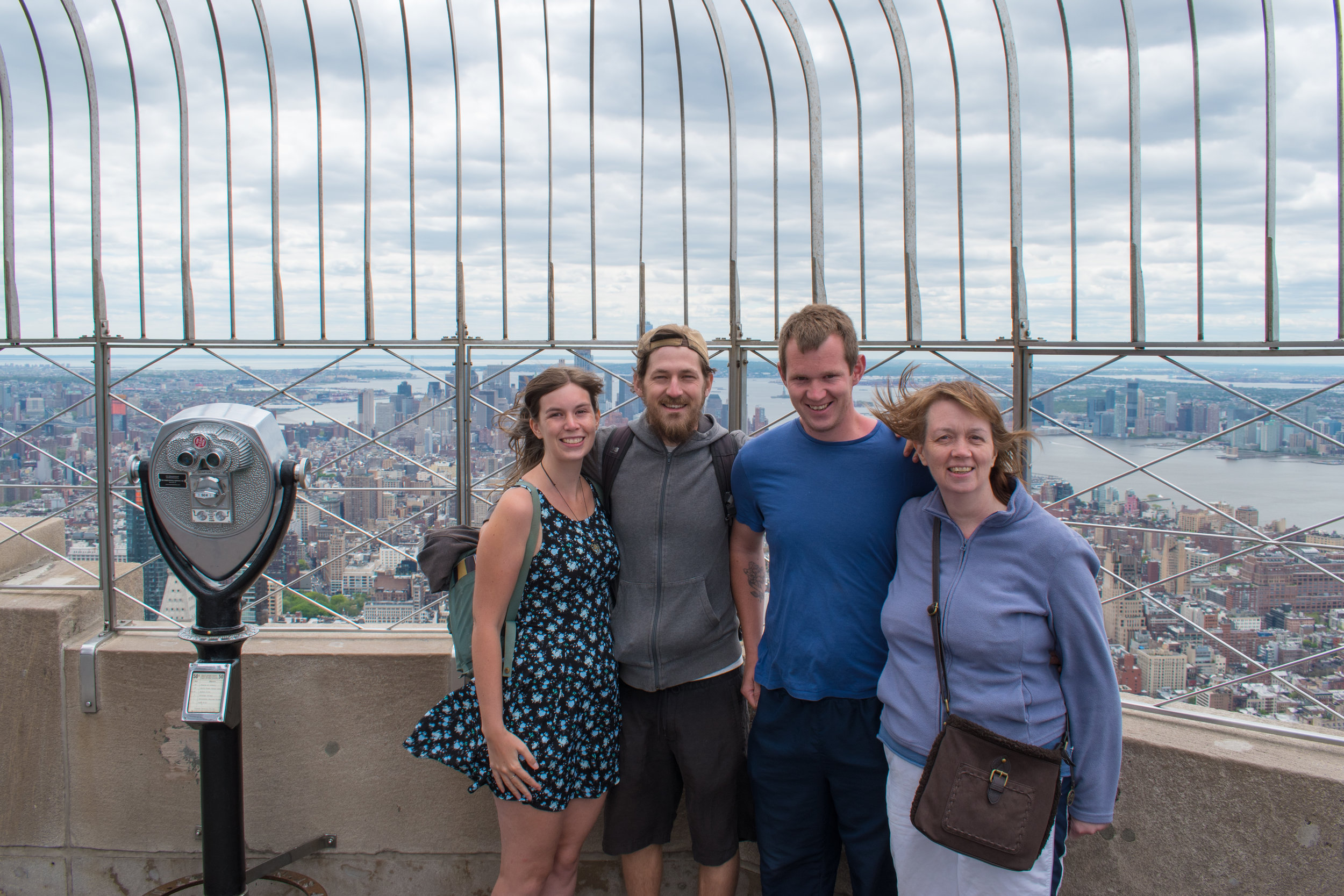 Family Portrait at The Empire State Building Observation Deck in New York