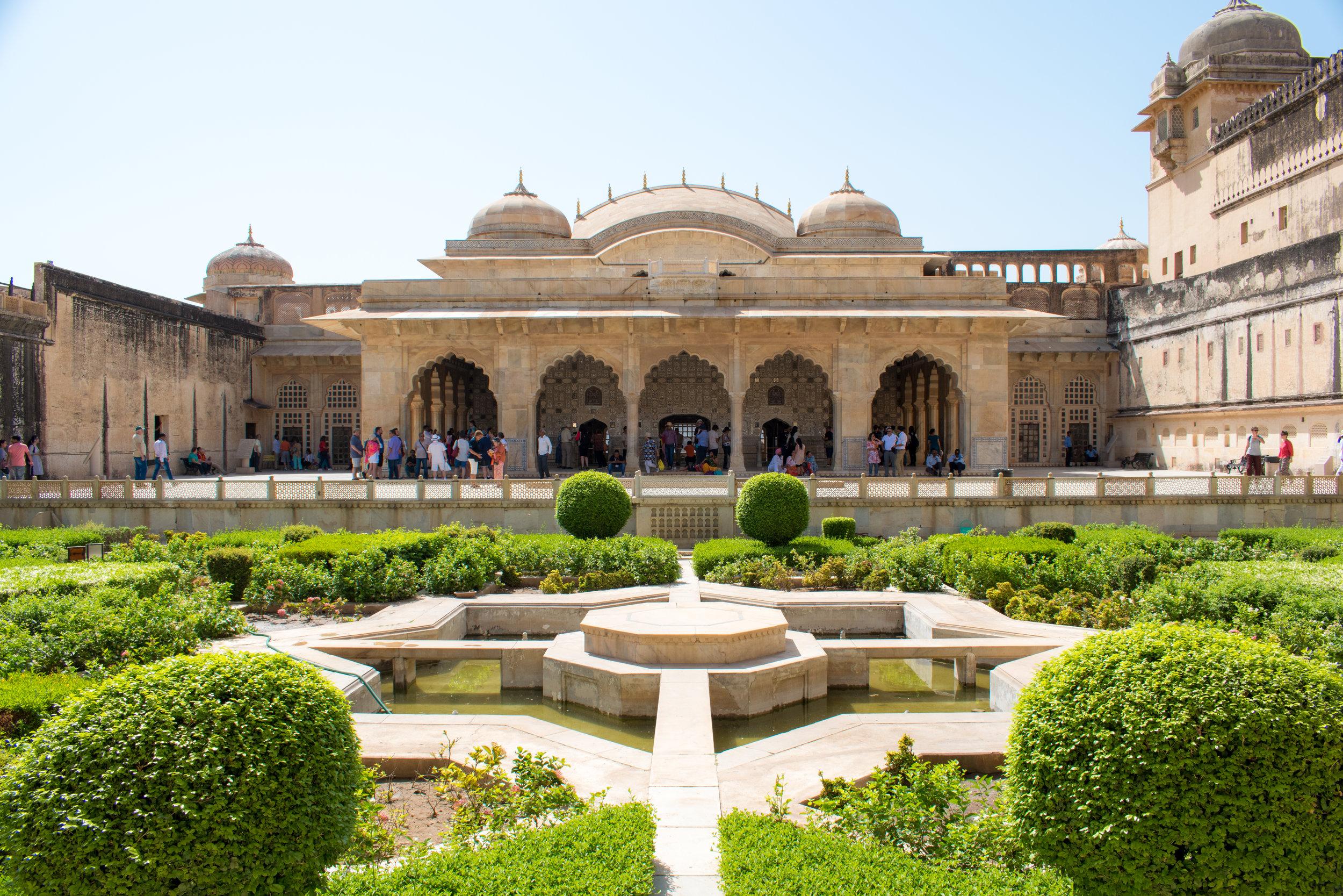 Interior Garden at Amber Fort in Jaipur, India