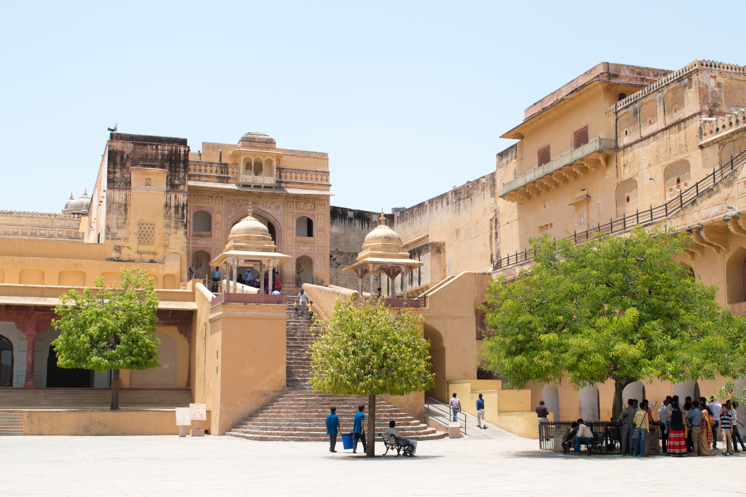 The Leafy Courtyard in Amber Fort, Jaipur in India