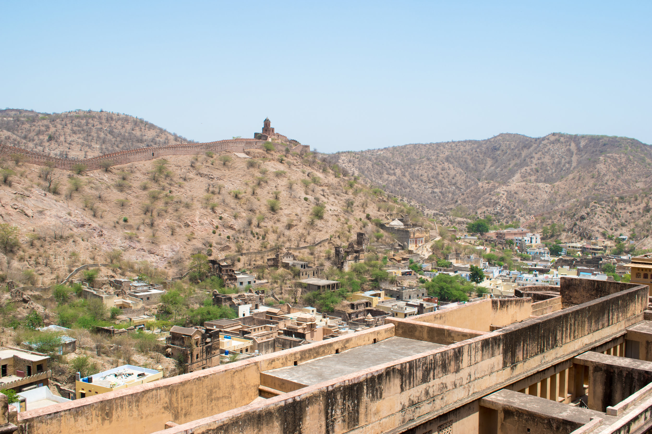 The Amber Fort Walls Snake Across The Hills in Jaipur, India