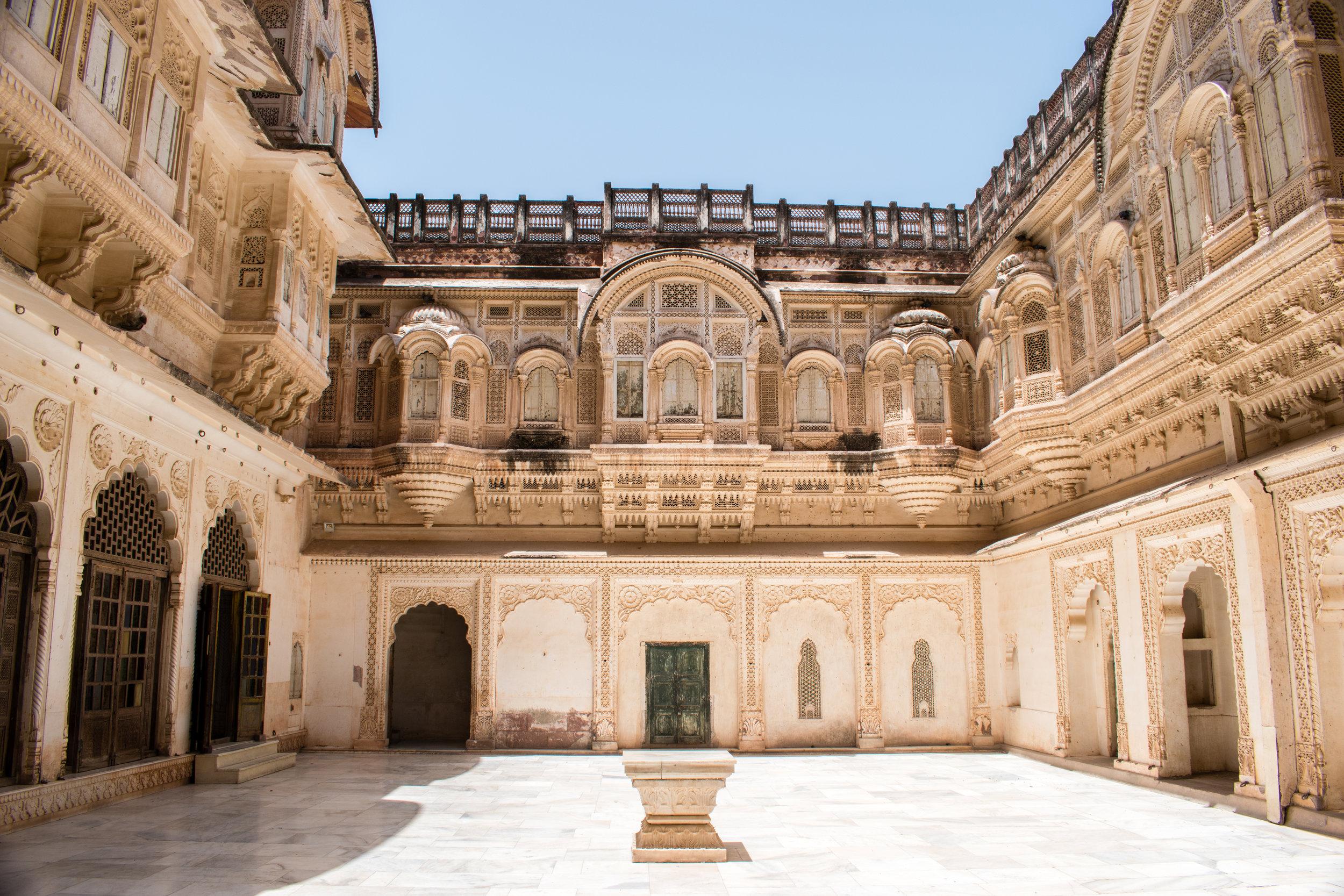 An Interior Courtyard At Mehrangarh Fort in Jodhpur, India