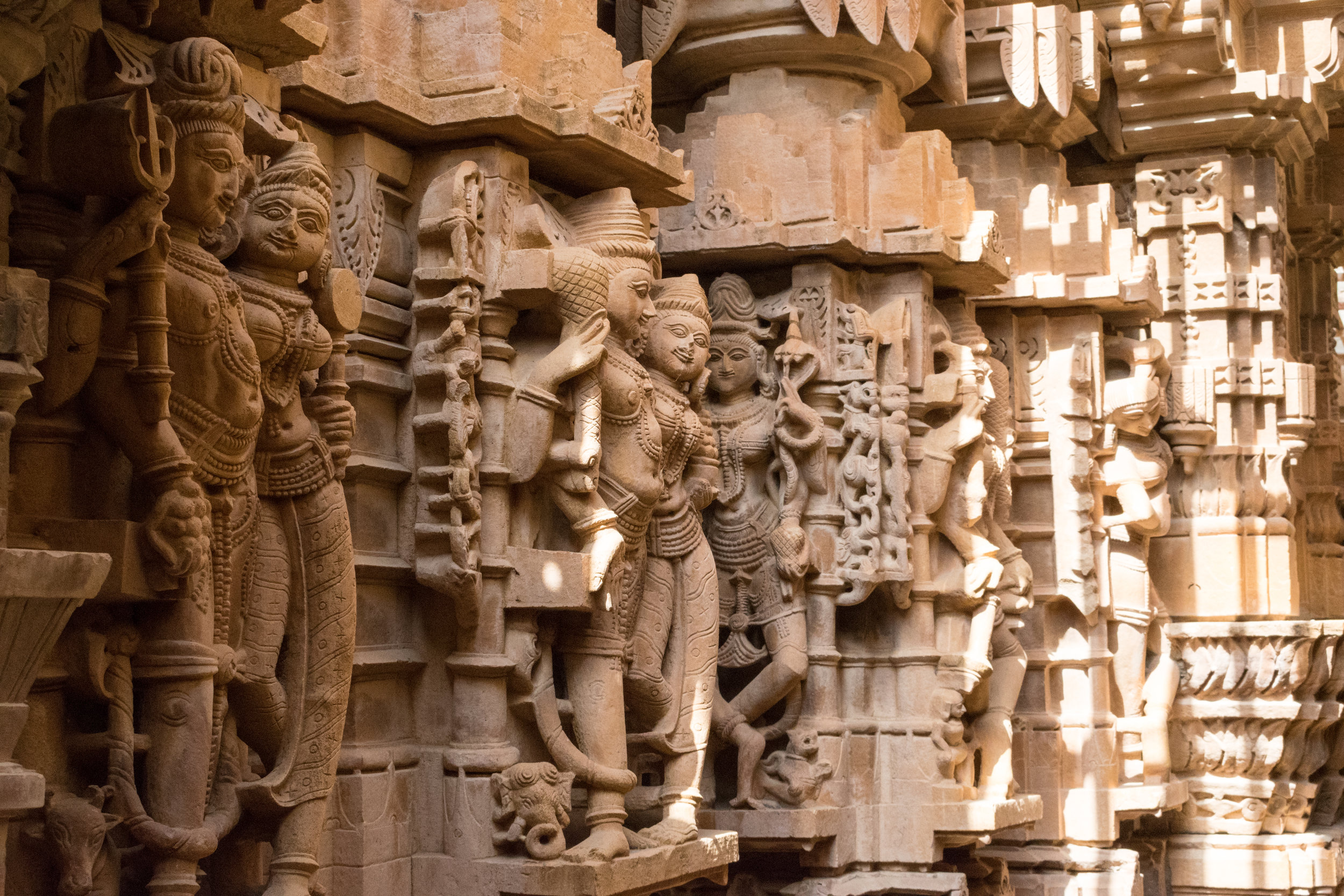 Hundreds Of Figures Adorn The Walls Of The Jain Temple In Jaisalmer In India