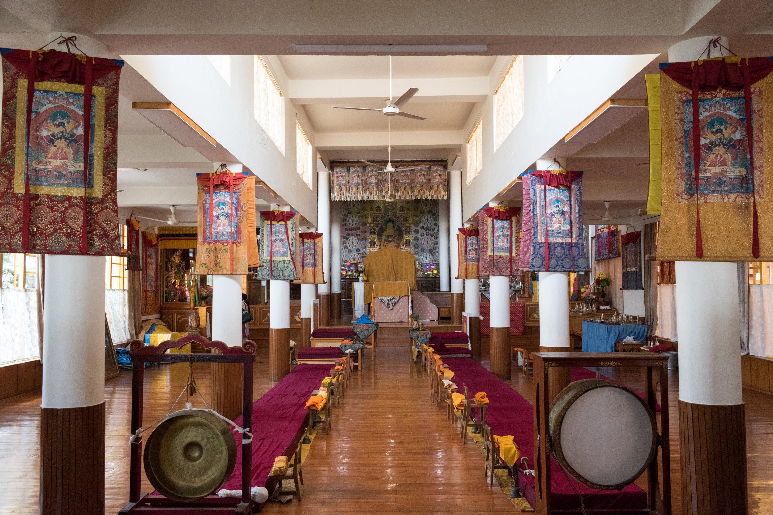 Inside Tsuglagkhang Temple in Mcleod Ganj, India