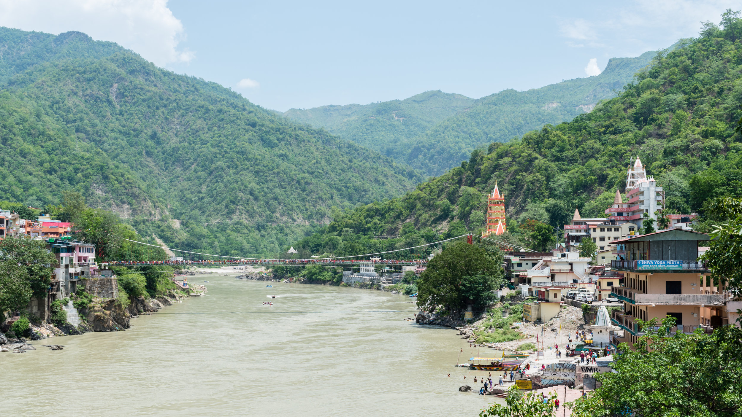 The River Ganges And Footbridge in Rishikesh, India