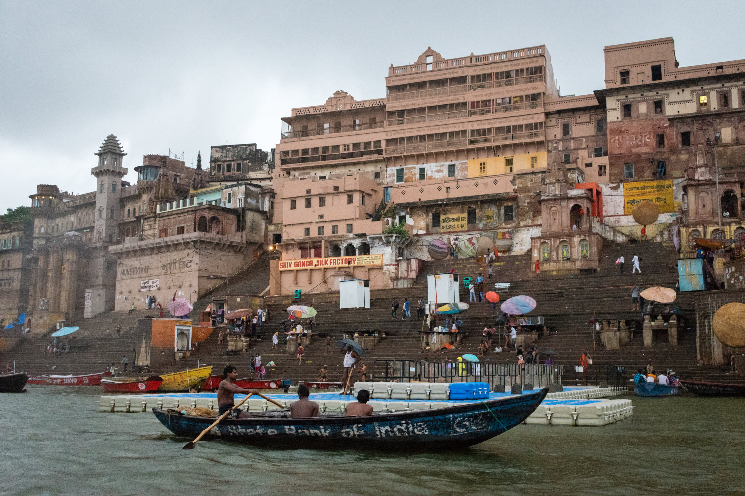 The Famous River Ganges and Ghats In Varanasi, India