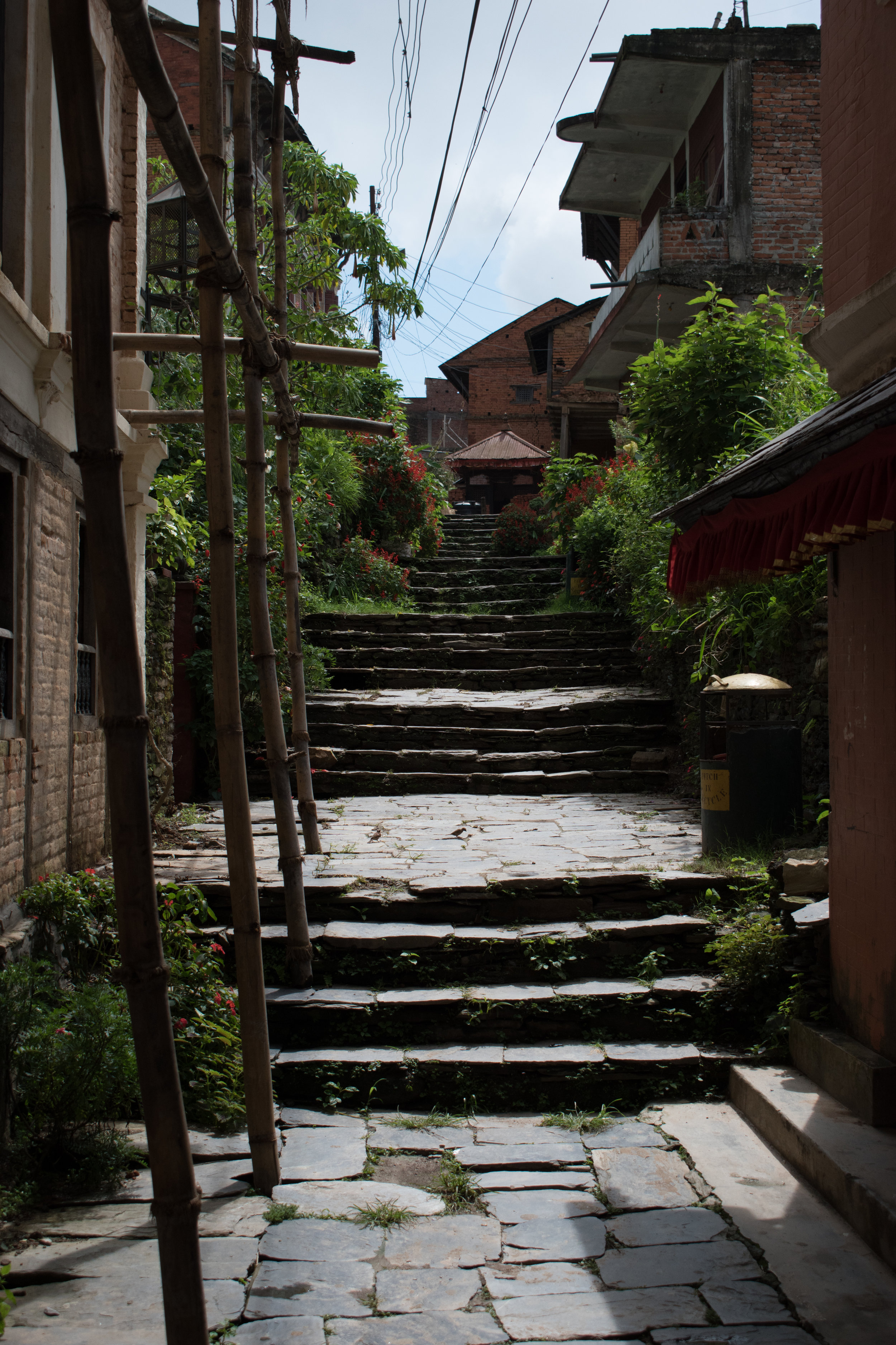 Bamboo Scaffolding And Pretty Steps In Bandipur, Nepal