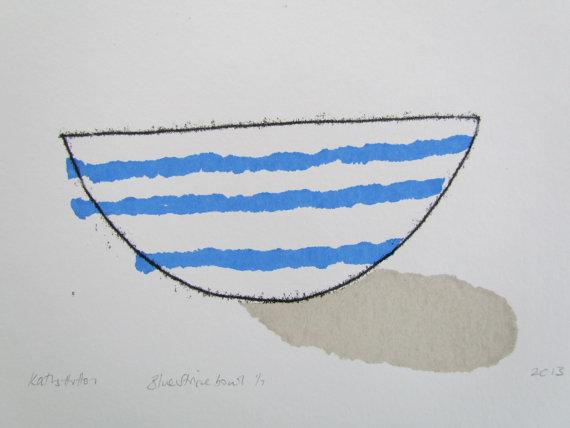 Blue Stripe Bowl Print by Kathy Hutton Using Screen-print and Mono-print Techniques