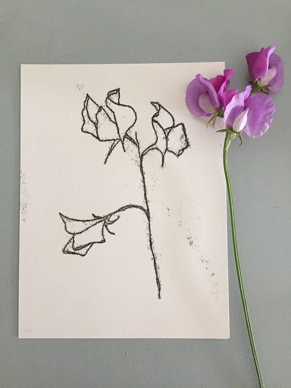 Sweet Pea Print by Kathy Hutton Using Monotype