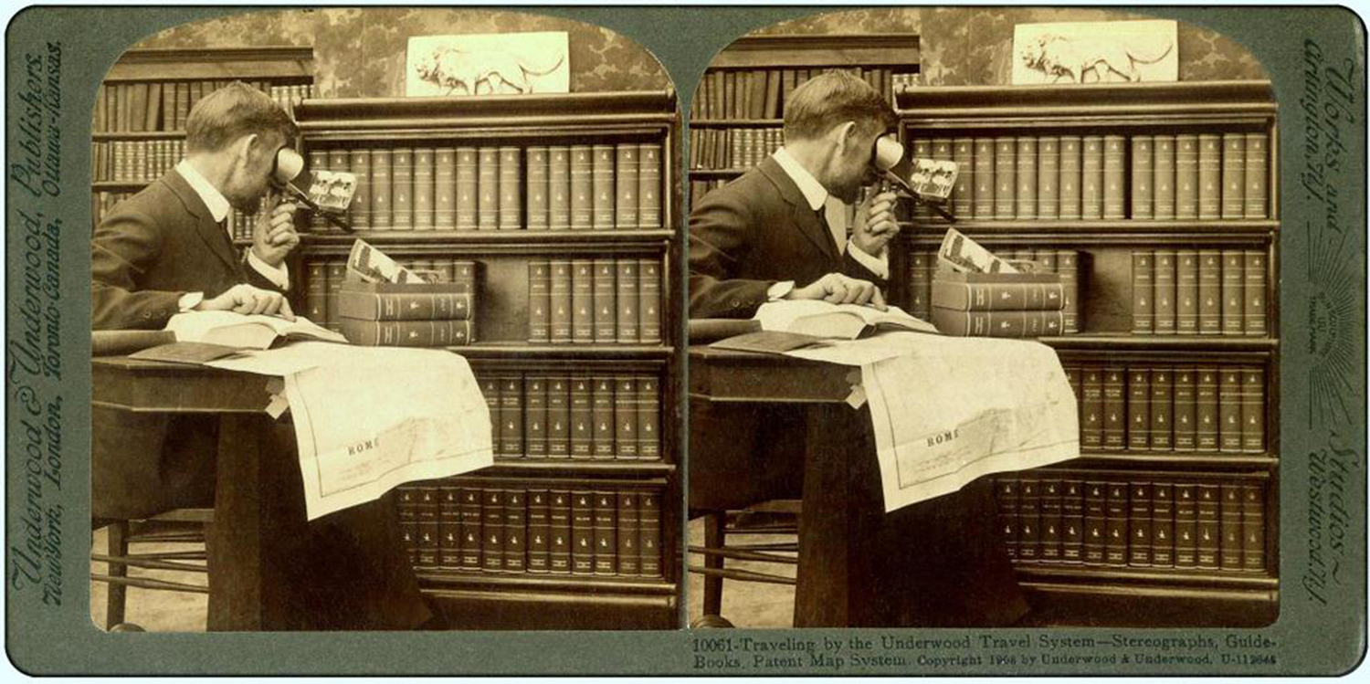 """Traveling by the Underwood Travel System — Stereographs, Guide-Books,"" Underwood & Underwood stereograph, 1908."