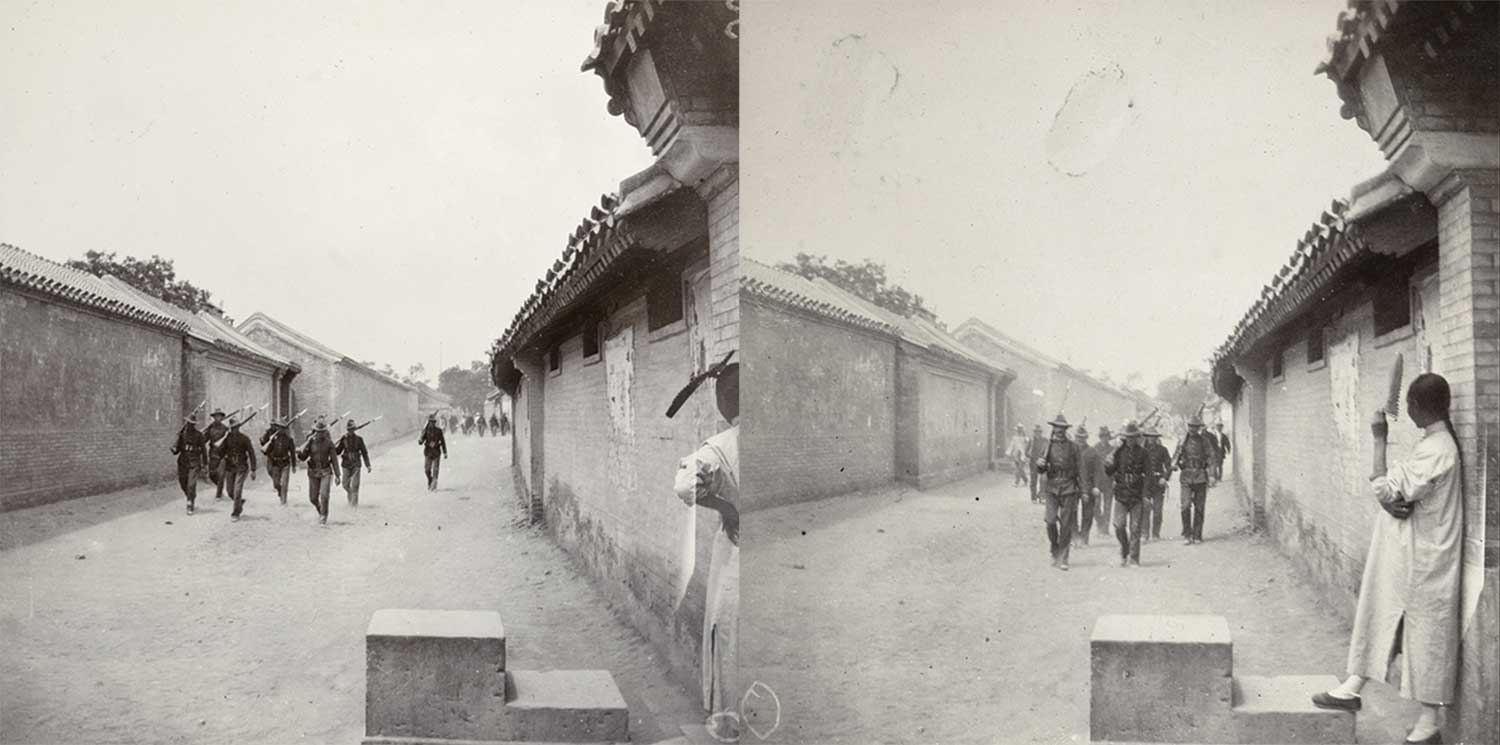 "Two photos by Reverend Killie: ""The Siege in Peking. At the Methodist Compound. Patrol of American Marines returning after having cleared the streets of 'Boxers'."" 1900."