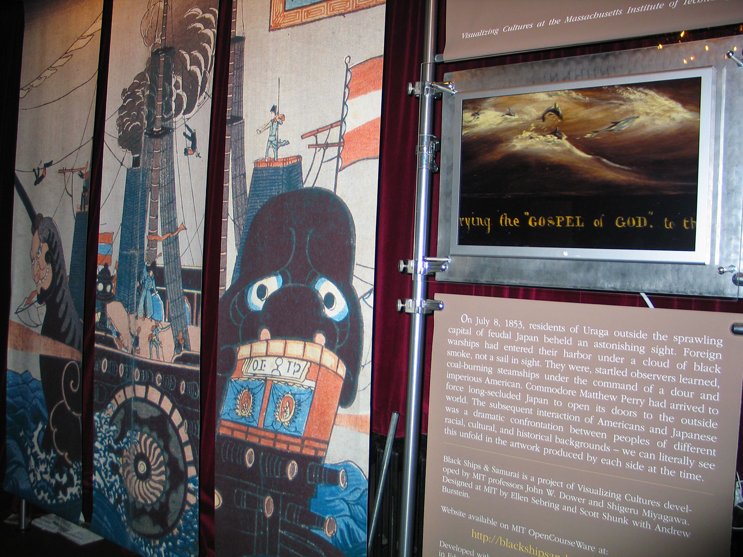 "Visualizing Cultures' ""Black Ships & Samurai"" exhibit at Stephen Sondheim's ""Pacific Overtures"" on Broadway, 2004."