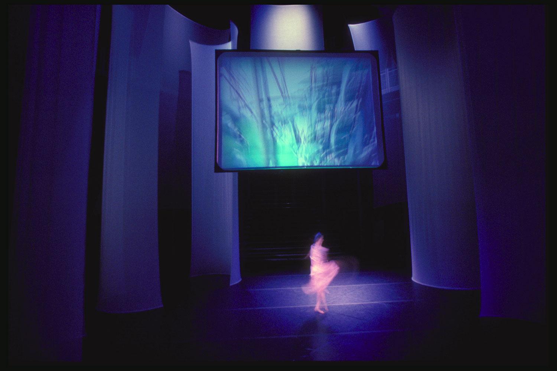 AVIARY, Ellen Sebring & Beth Galston, w/dancer Sarah Skaggs, MIT Media Lab CUBE, 1989
