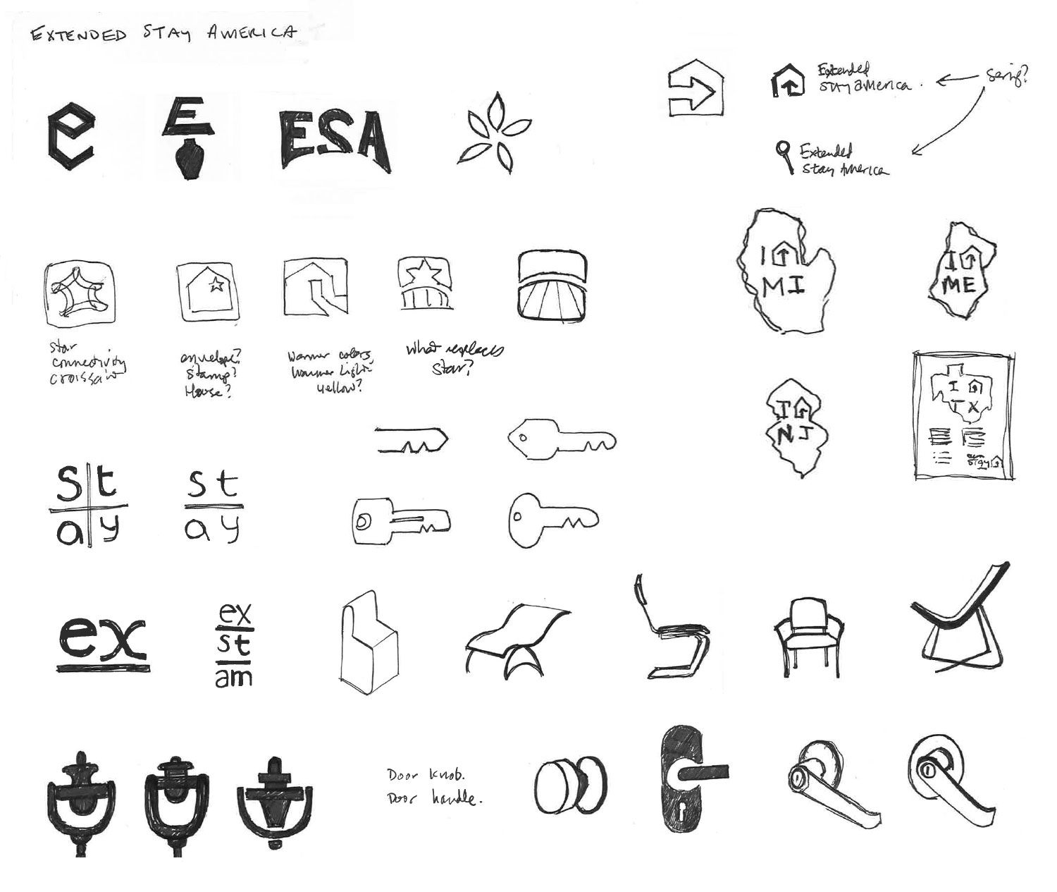Extended Stay America logo sketches