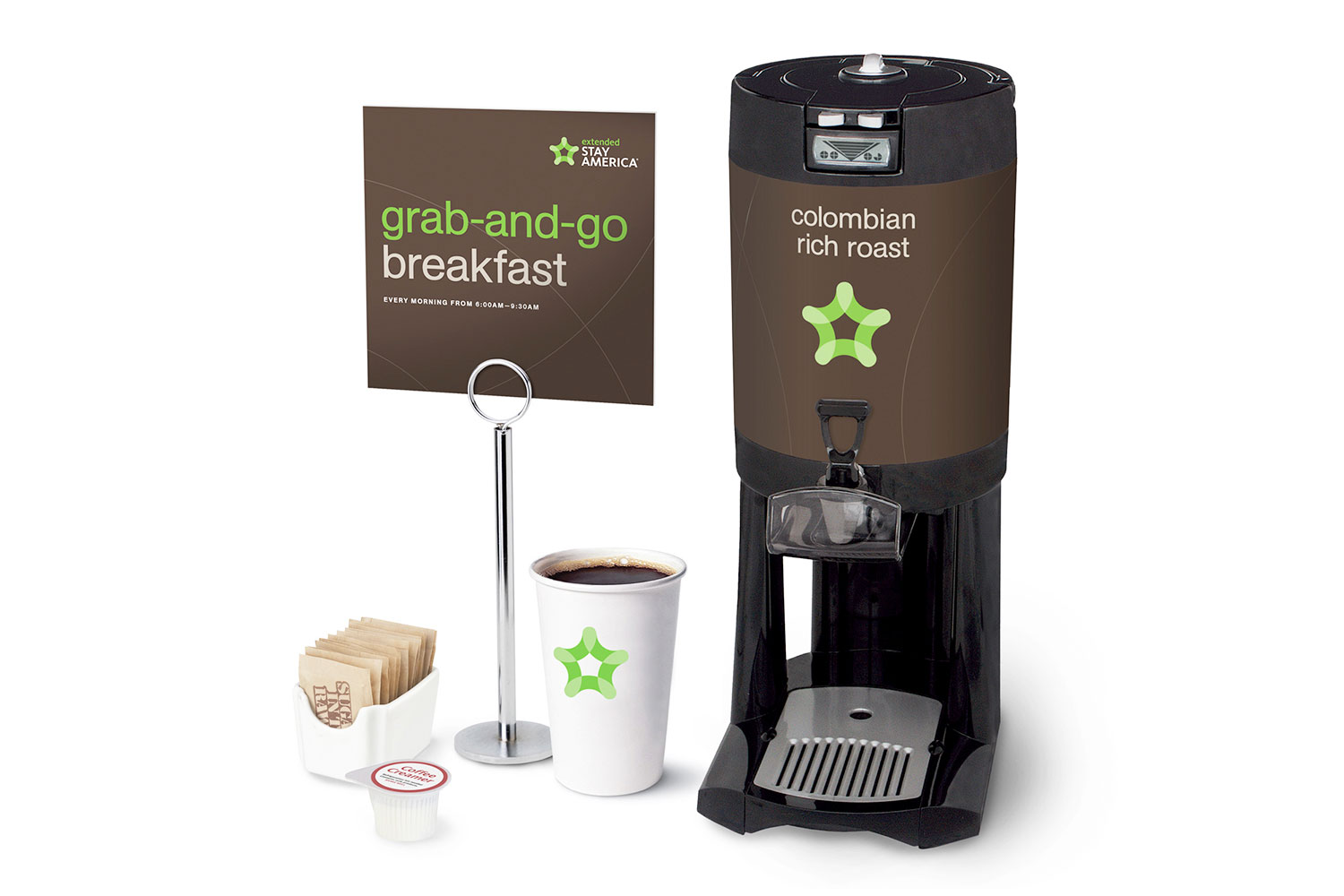 Extended Stay America grab-and-go breakfast and coffee station