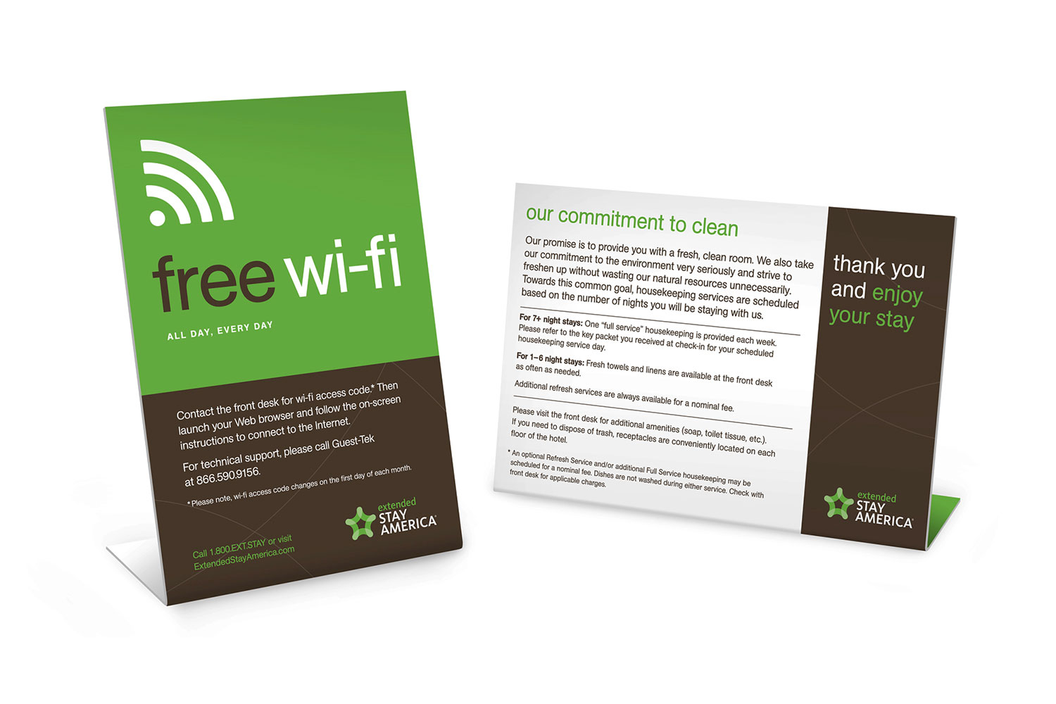 Extended Stay America placards promoting free wi-fi and housekeeping services