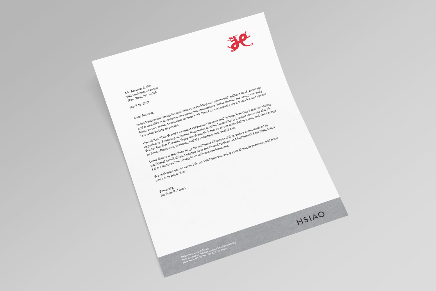 Hsiao Restaurant Group stationery