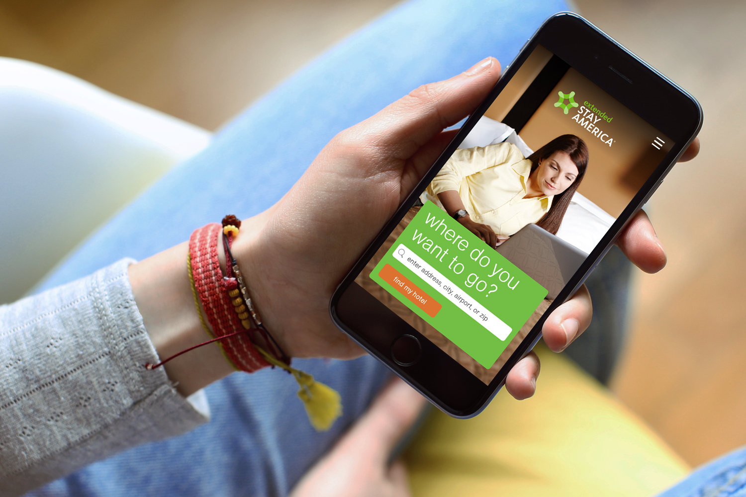 Extended Stay America mobile app, home screen