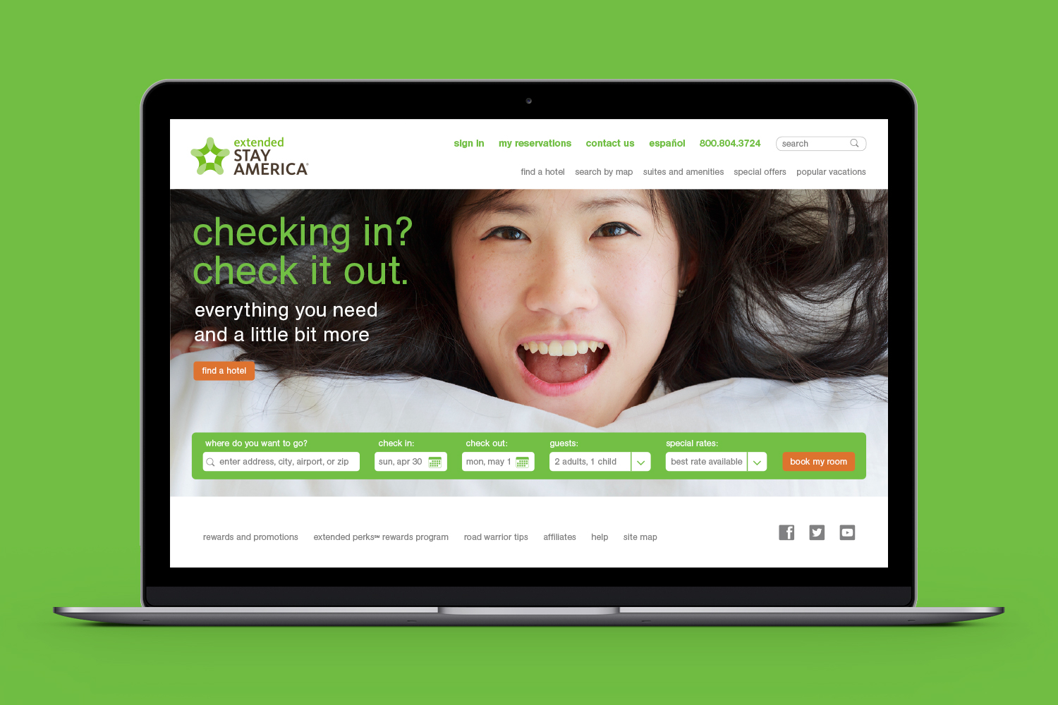 Extended Stay America website, homepage