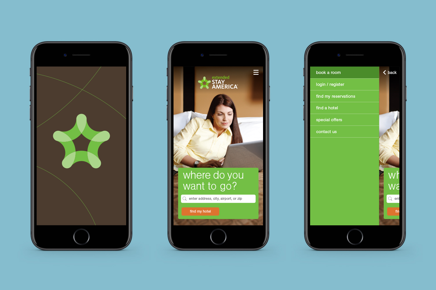 Extended Stay America mobile app screens
