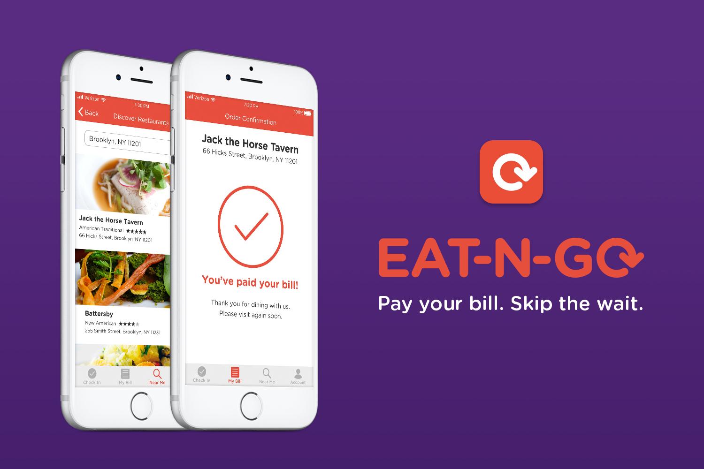 Eat-N-Go screens, logo, and tagline