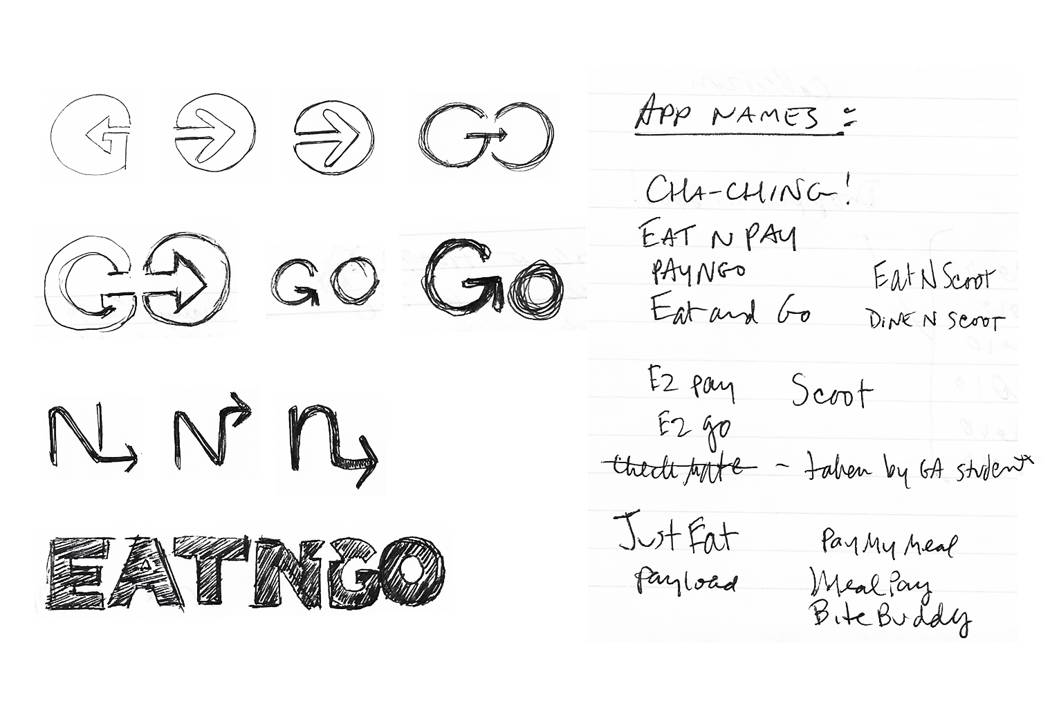 App name and logo sketches