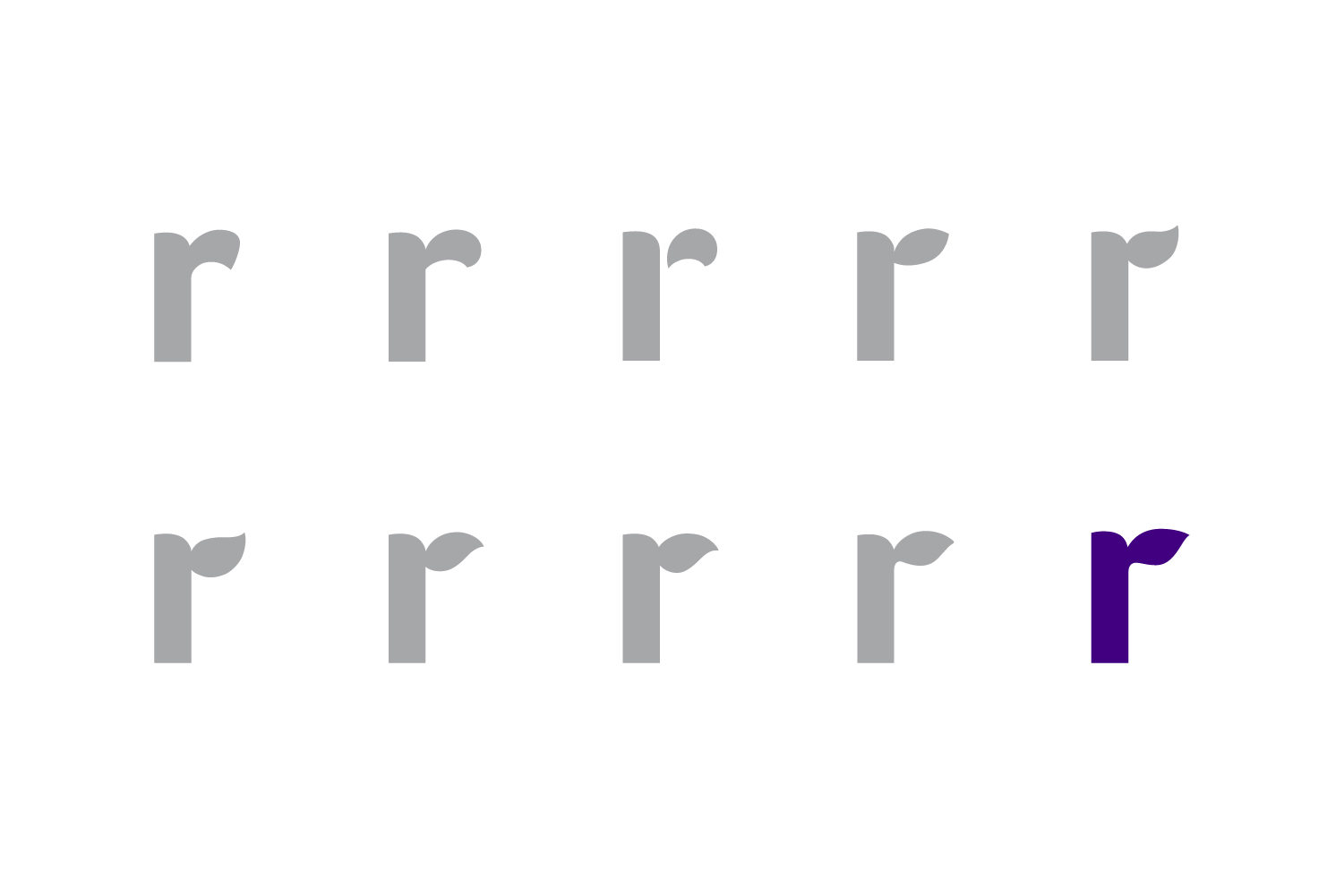 "Amyris logo design, exploration for lowercase ""r"""