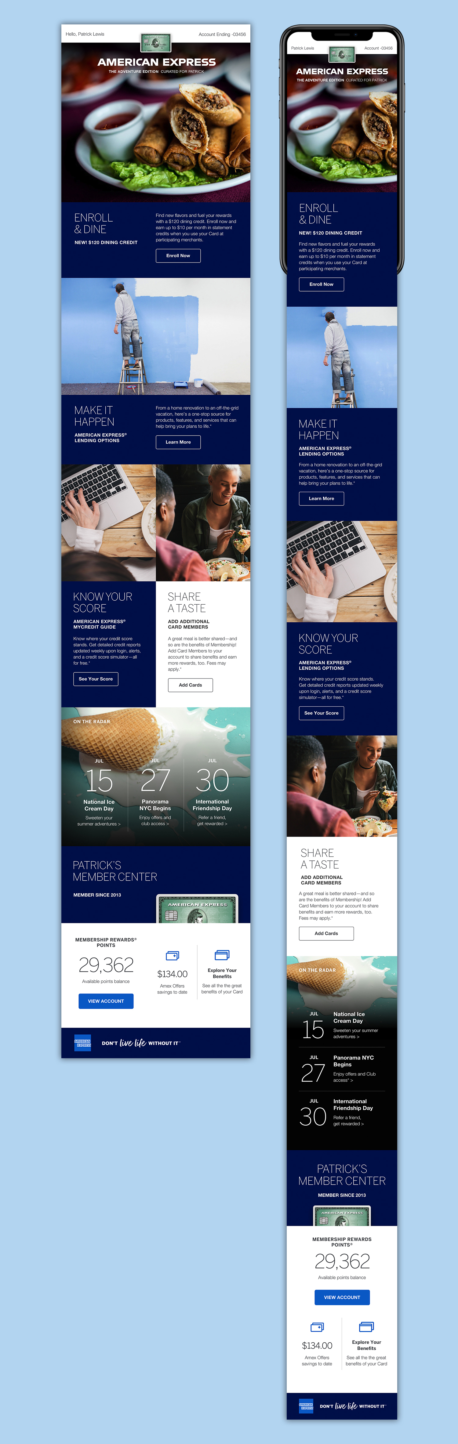Newsletter for American Express Charge product portfolio