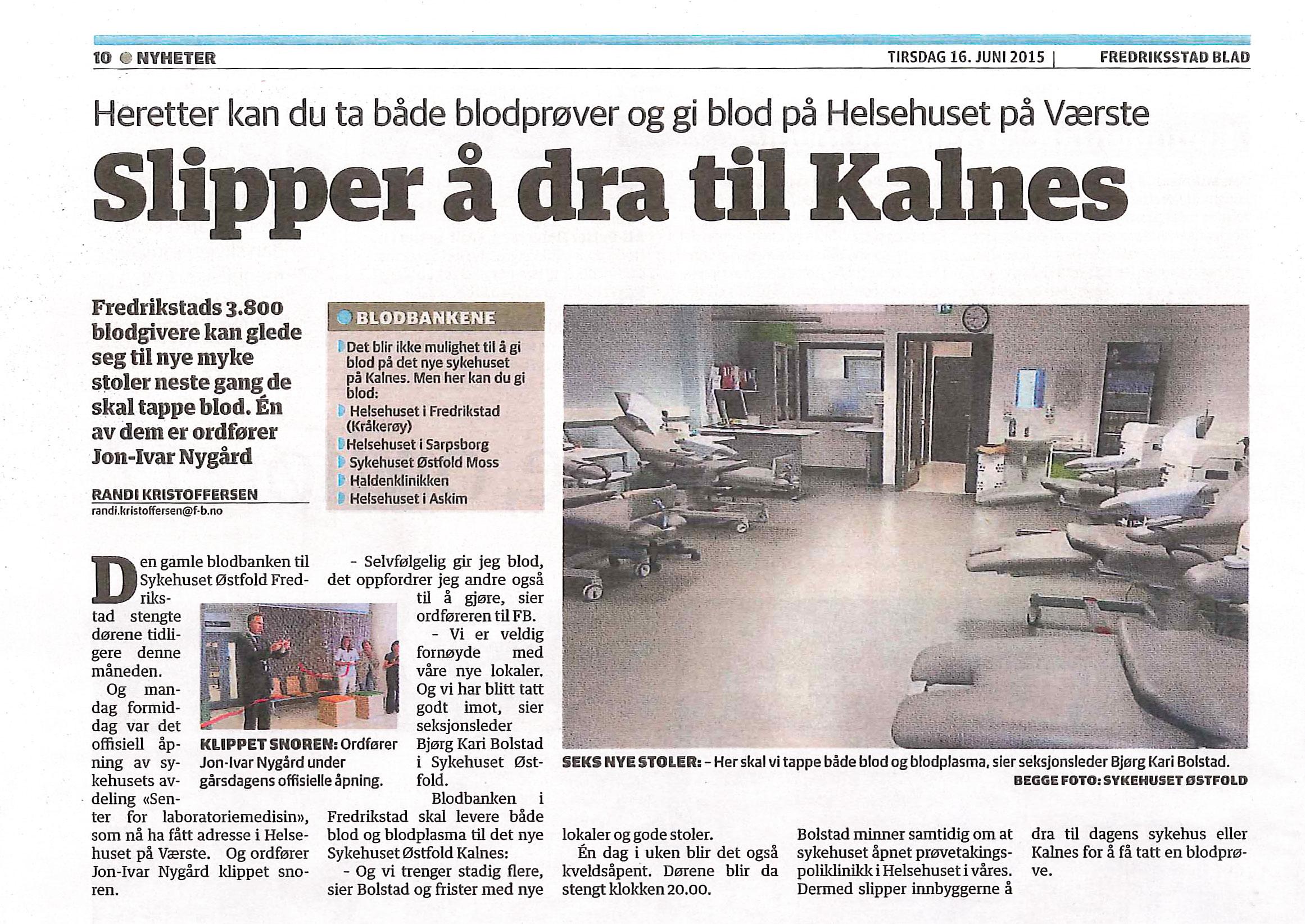 Fra Fredriksstad Blad 16. juni 2015