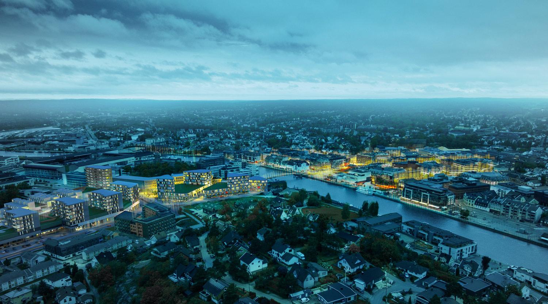 Med elven som senter av sentrum, skapes det en fin akse med gåavstand fra den nye bydelen og opp til Torvbyen.