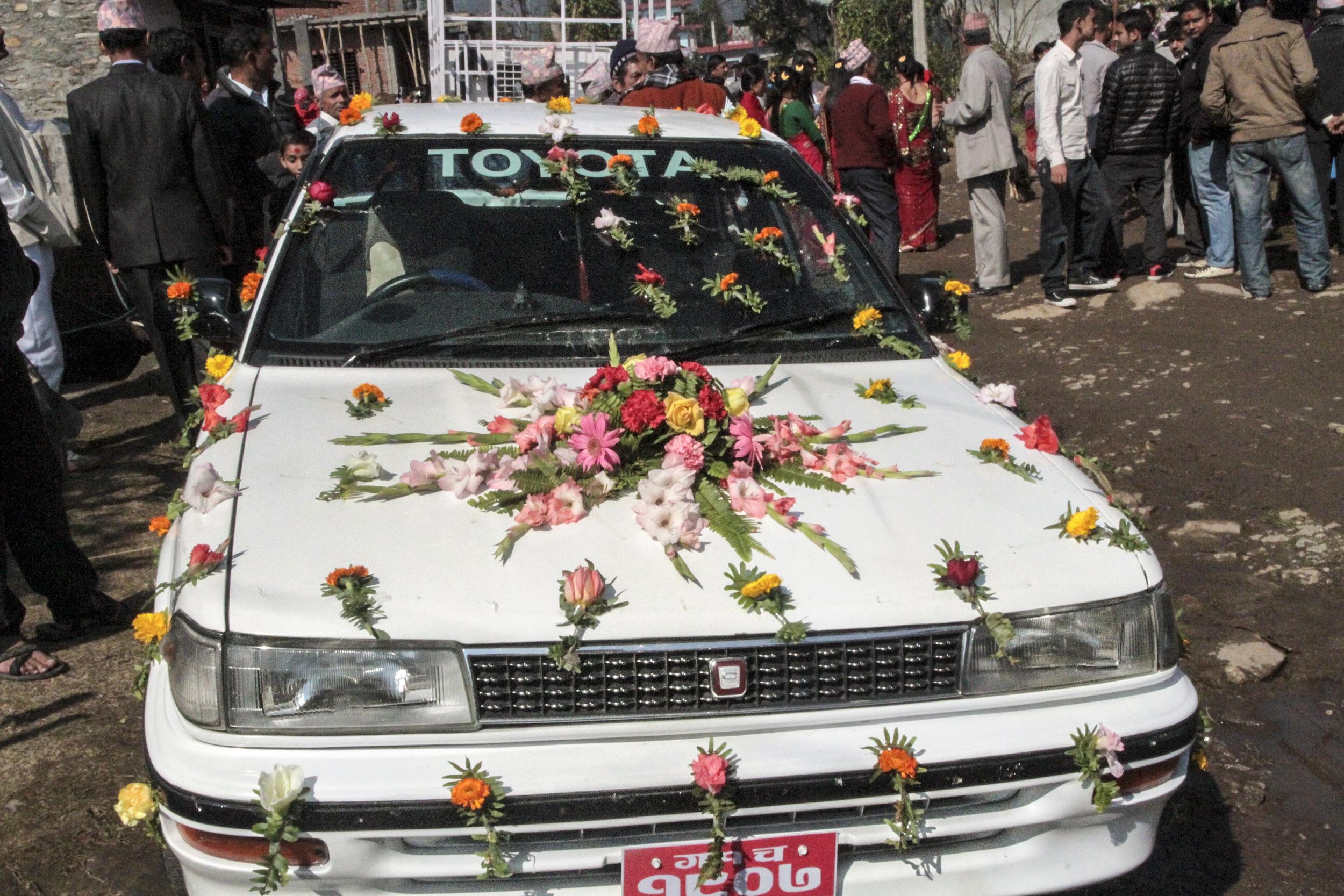Wedding decorations. Pokara, Nepal