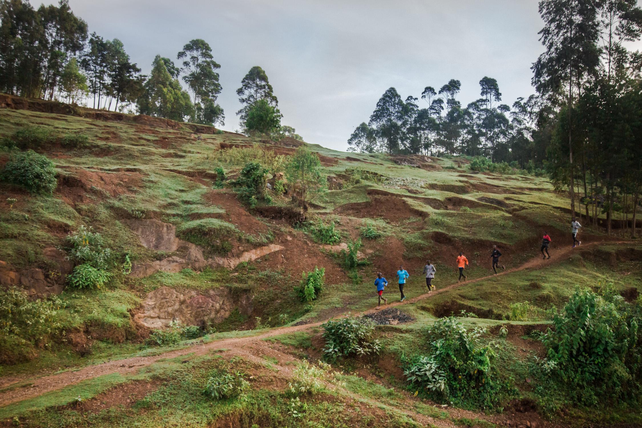 Paul Koech's team training in the highland of the Rift Valley in Kenya.