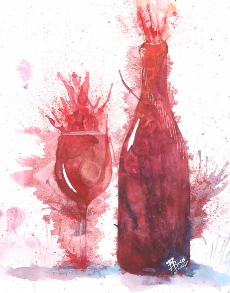 Exploding Wine Bottle & Glass