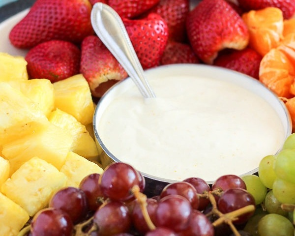FRUIT PLATTER - (SERVES 10) - $15a selection of seasonal fruit with yogurt dip or caramel dip (GF)ADD extra Dip $3.00