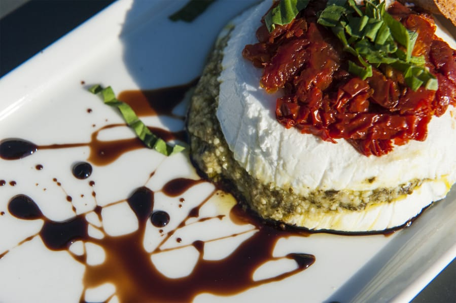GOURMET CHEESE TORTA - $1.50/ppherbed goat cheese/cream cheese ball with sun dried tomatoes and pesto served with crackers