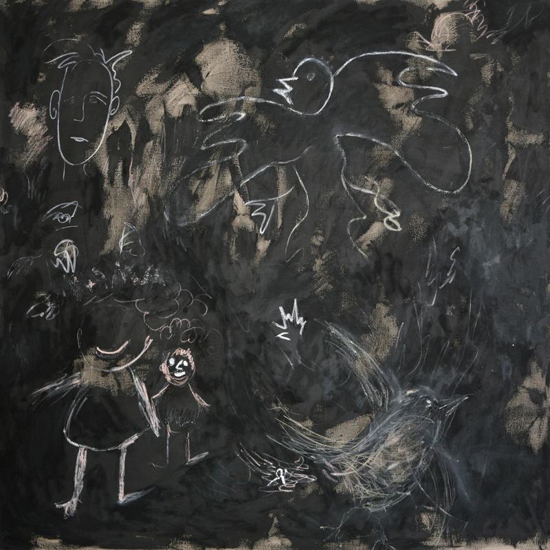 White Doodles on Black, 2009, oil paint, oil sticks, pencil and black gesso on linen, 170 cm x 170 cm