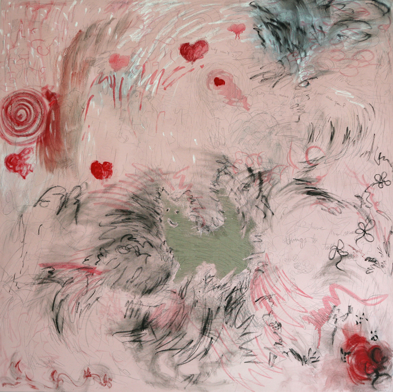Cat in Pink, 2009, oil, pencils and pigmented gesso on linen, 170 cm x 170 cm