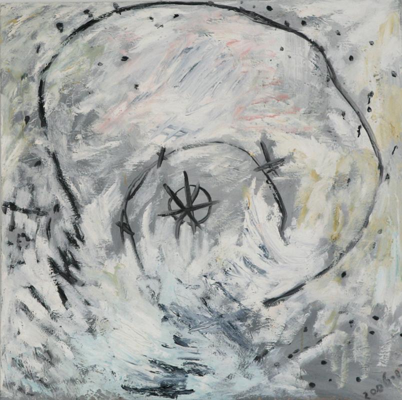 Child's Spiral on White, 2006 - 08, oil in canvas, 76 cm x 76 cm