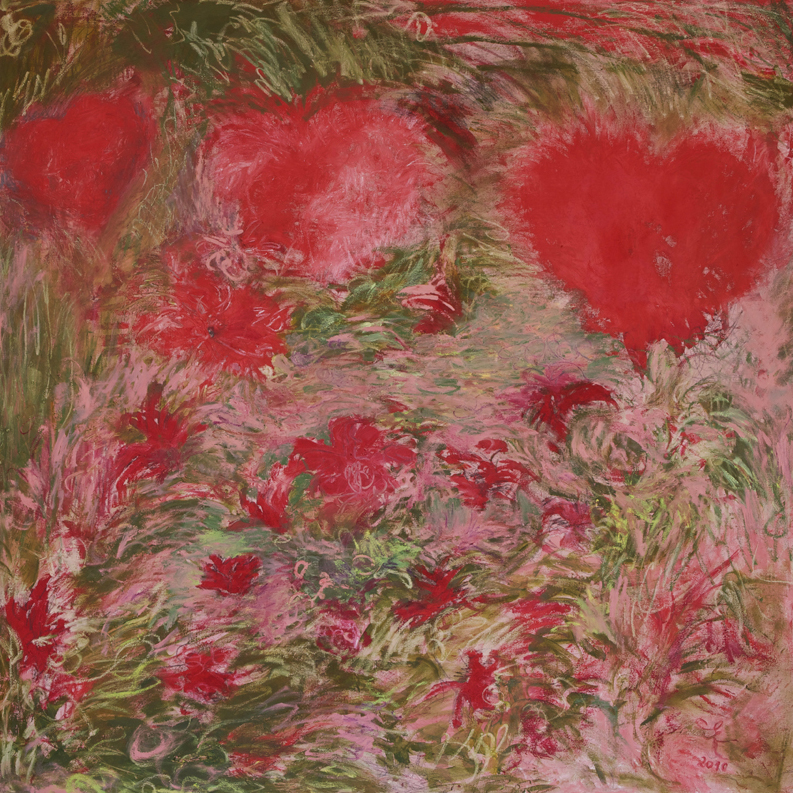 Hearts and Flowers, 2010, oil paint and oil sticks on linen, 170 cm x 170 cm