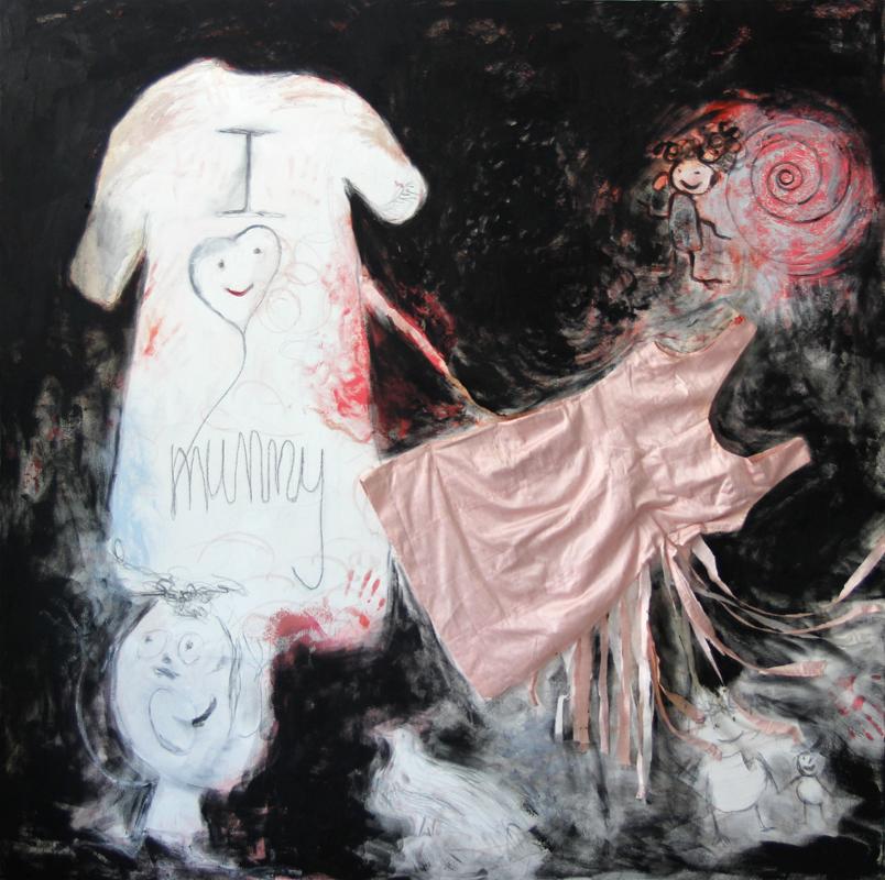 """I love Mummy"", 2012-13, 170 cm x 170 cm, oil, pencil, oil stick and silk dress on canvas"