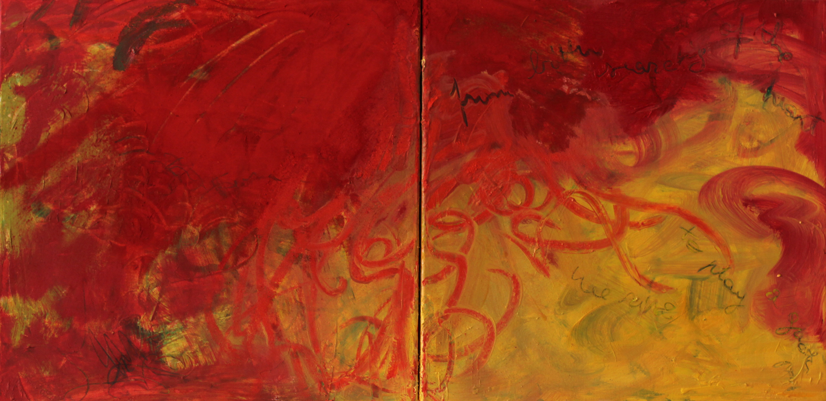 Diptych On The Floor, 2011, oil and dry pigment on canvas, 30 cm x 60 cm