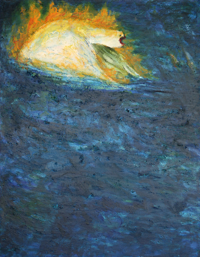 Swimmer, Bird on Fire - Water Series, Exhibition at the Royal Over-seas League, London 1994