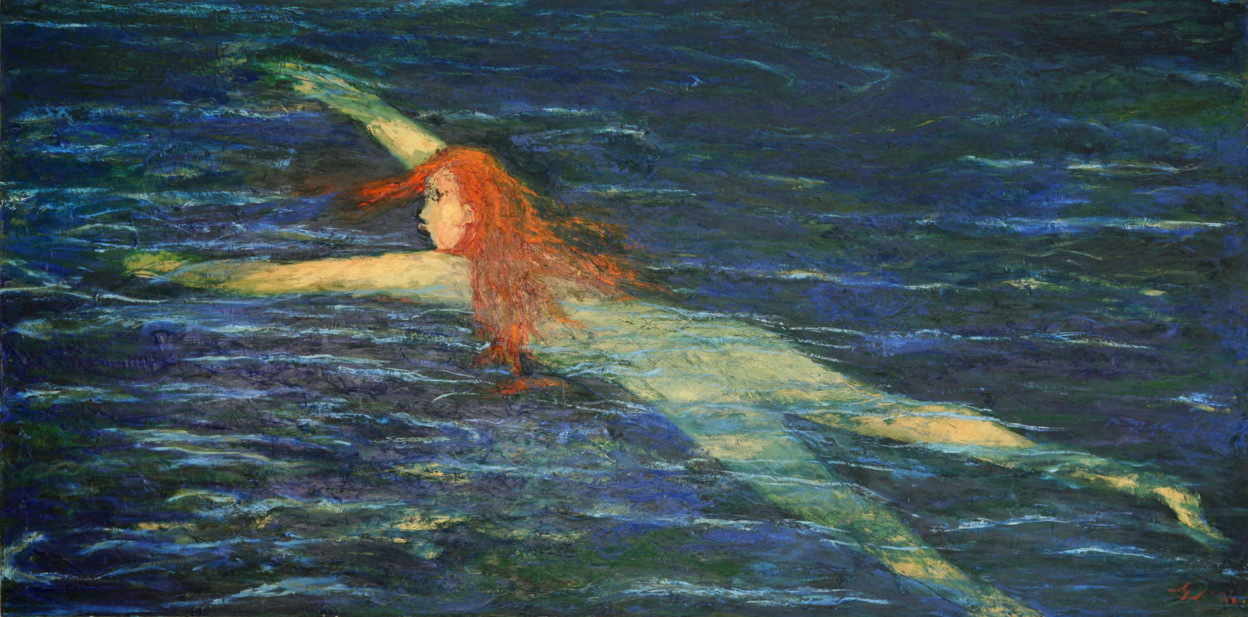 Red Haired Swimmer - Water Series, Exhibition at the Royal Over-seas League, London 1994