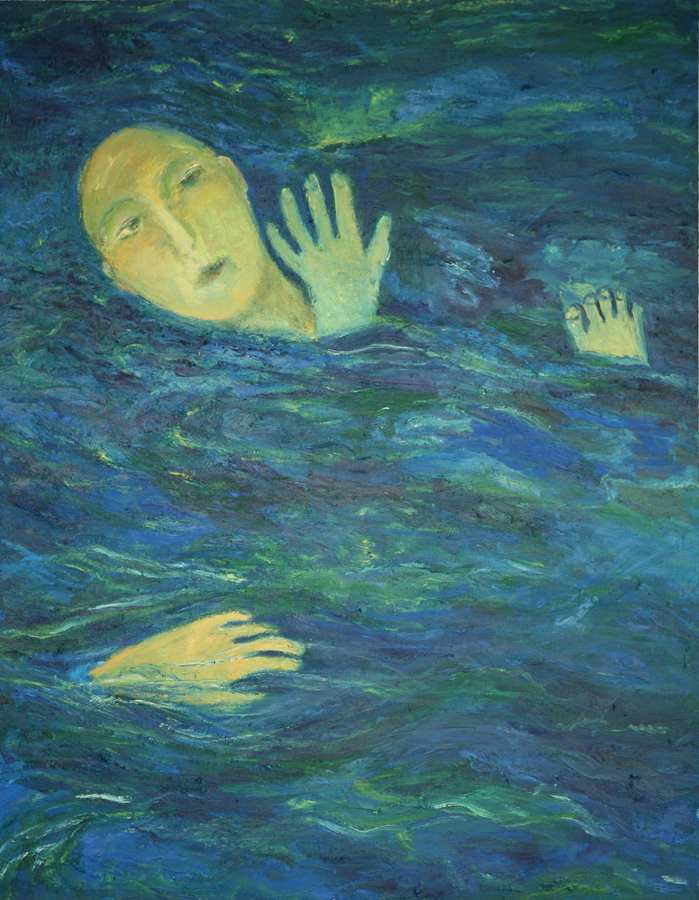 Swimmer, Hands & Feet - Water Series, Exhibition at the Royal Over-seas League, London 1994