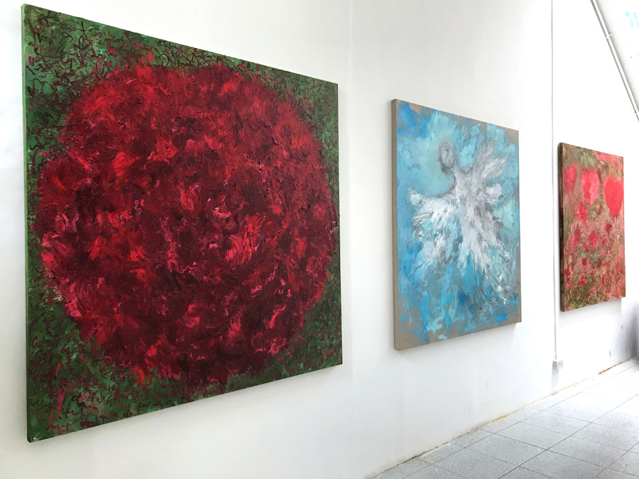 "Flight , 2018 installation shot showing from left to right ""Peony"", ""Floating Up in the Sky Again"" and ""Fragonard"""