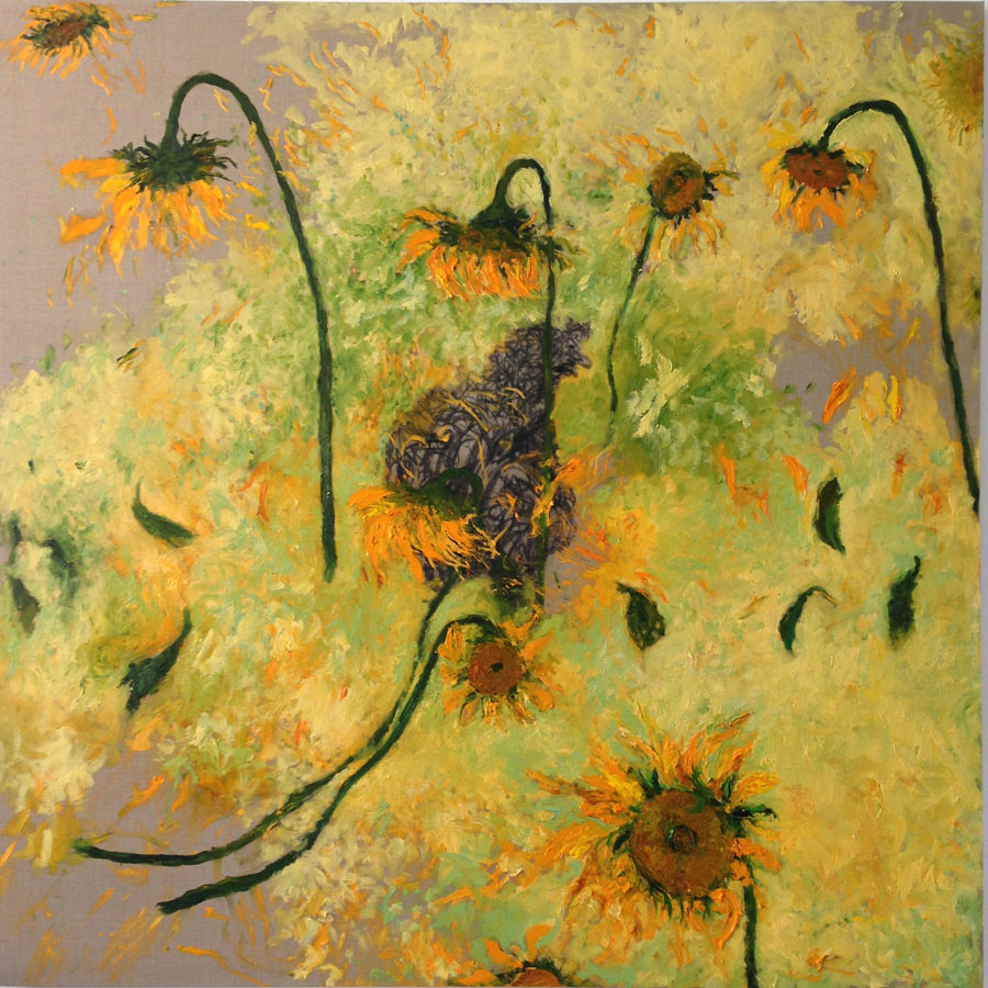 Sunflowers, 2016 - 2017, oil on linen with sunflower petals, 170 cm x 170 cm