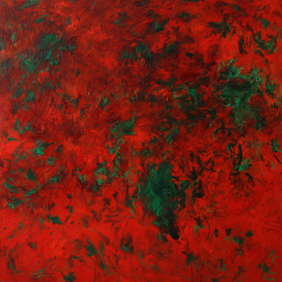Red Painting with Money Plant, 2014 170 cm x 170 cm