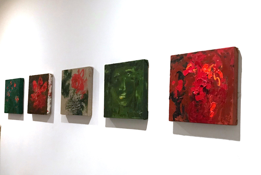 Flight, installation shot 2018, group of 5 paintings each 30 cm x 30 cm, oil on linen