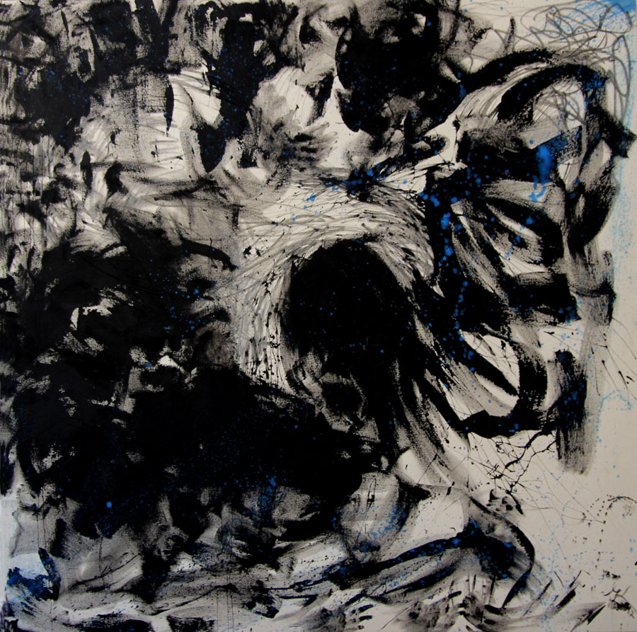 Painting Woman, 2012 - 14, black gesso and oil paint on canvas, 170 cm x 170 cm