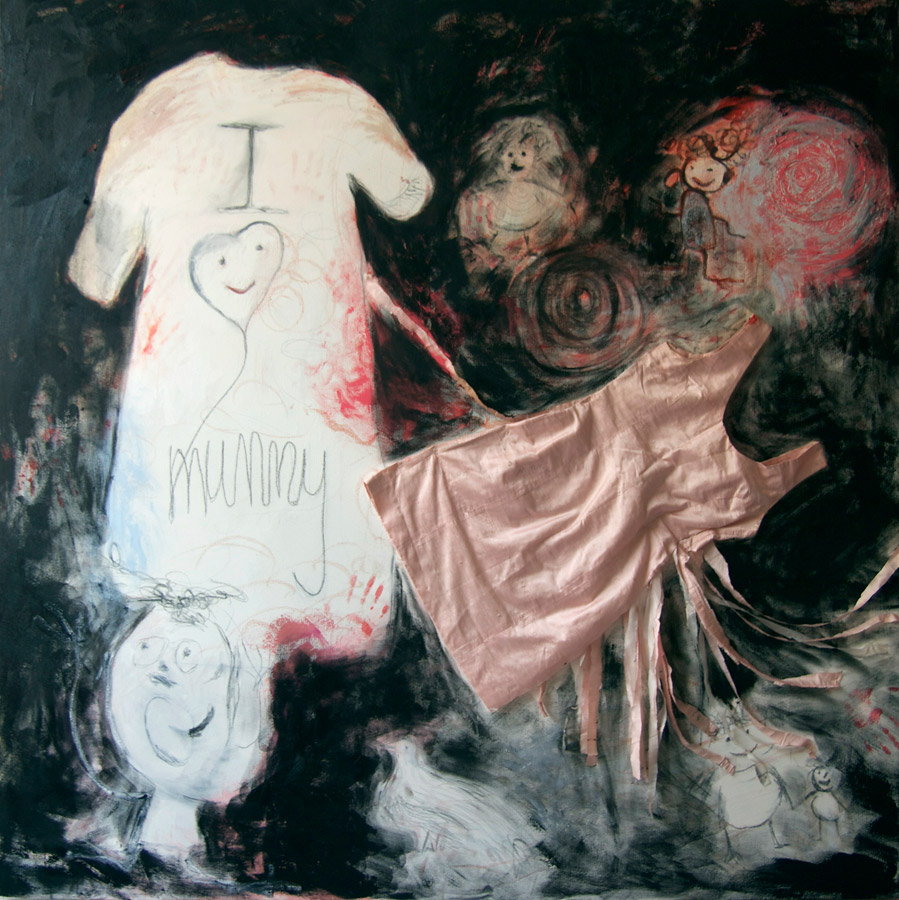 I Love Mummy , the black version 2014, oil, pencils, crayon and silk dress on canvas