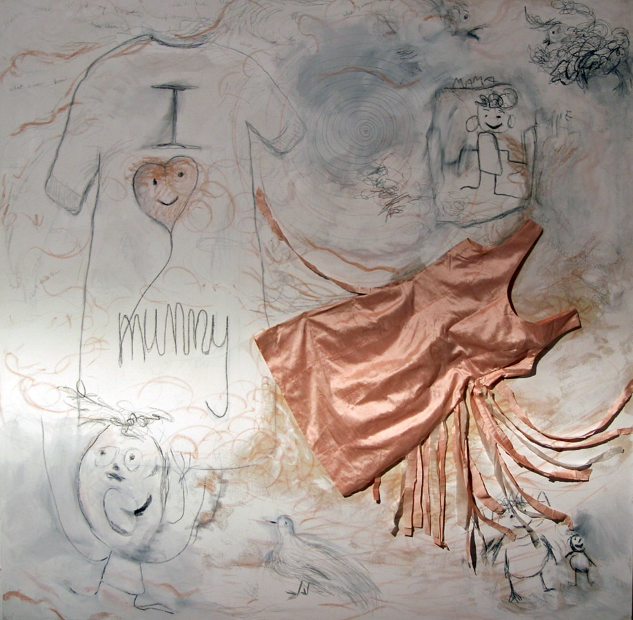 I Love Mummy , the white version 2012, oil stick, pencils, crayon and silk dress on canvas
